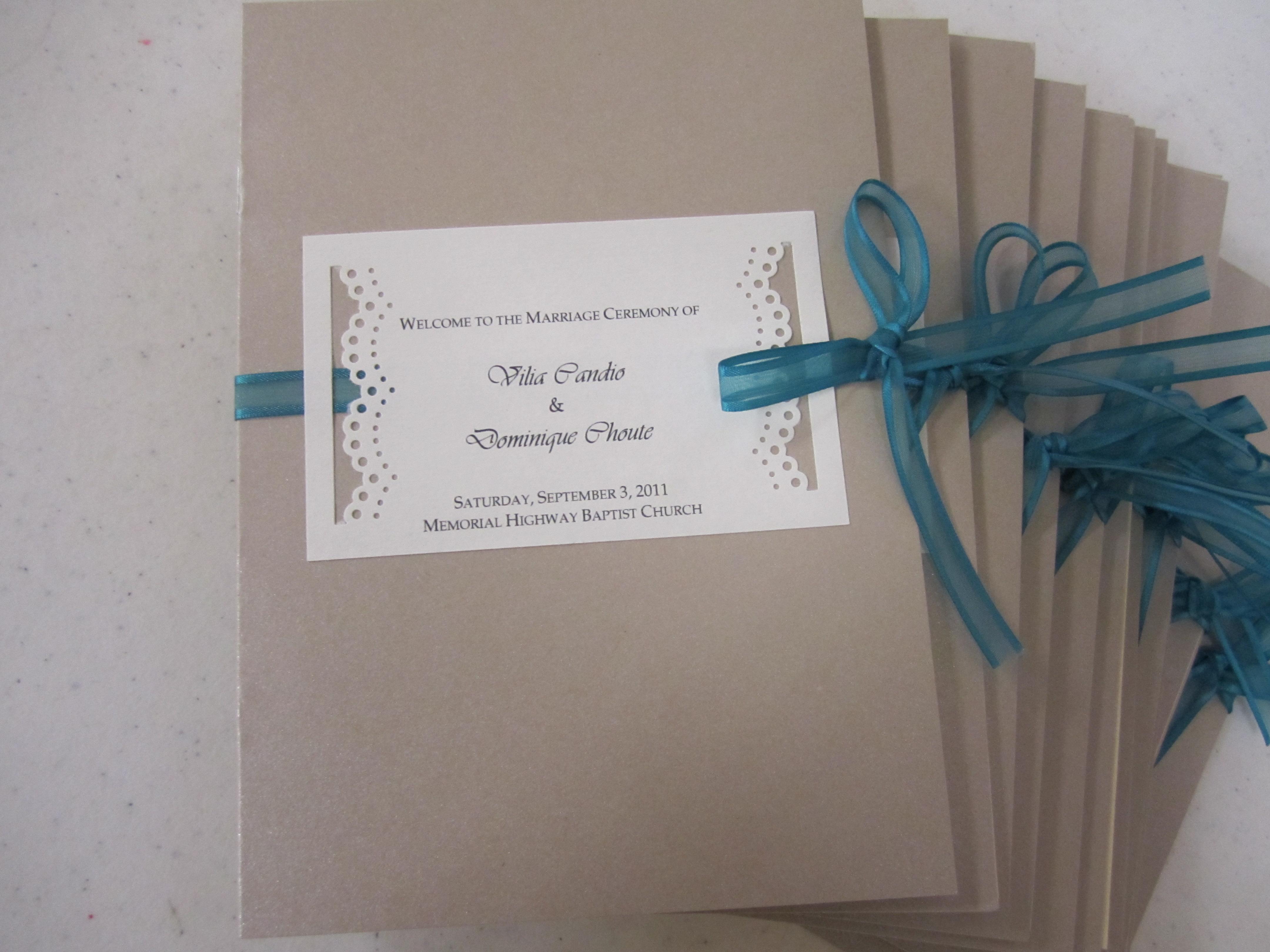 Elegant wedding program booklet