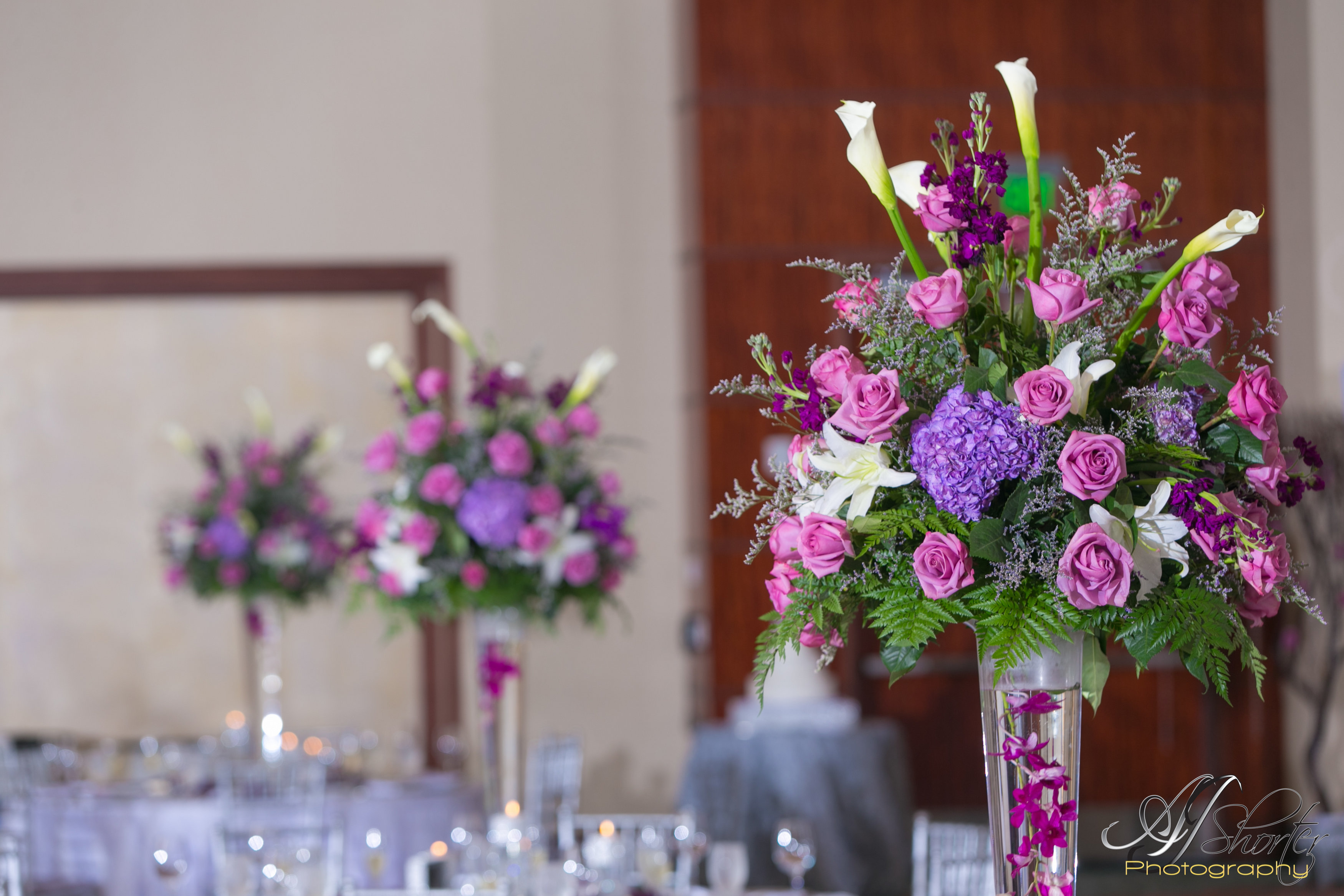 Wedding reception- tall centerpieces