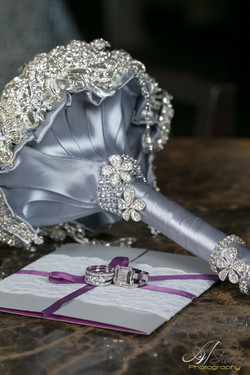 Wedding detailed shot- bling bouquet