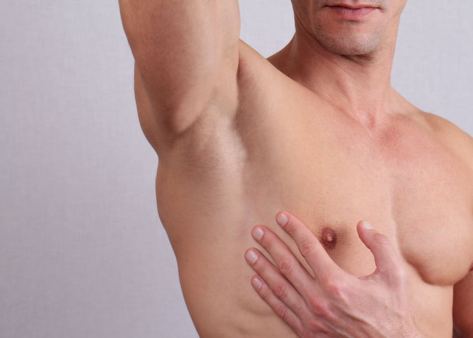 Close up of muscular male torso, chest a