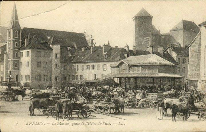 Old postcard of Annecy
