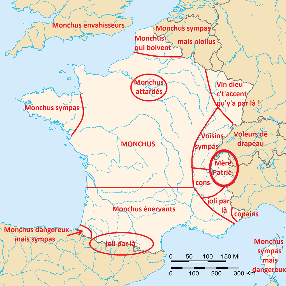 Funny map of France and Annecy area