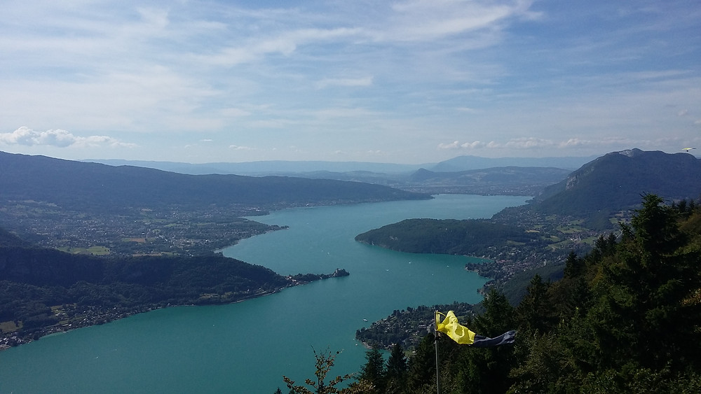 beautiful view on lake annecy from Col de la Forclaz