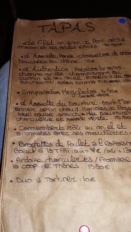 Menu original Restaurant Annecy