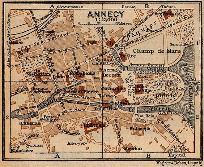 Old map of Annecy