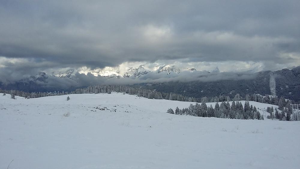 Semnoz mountain with snow