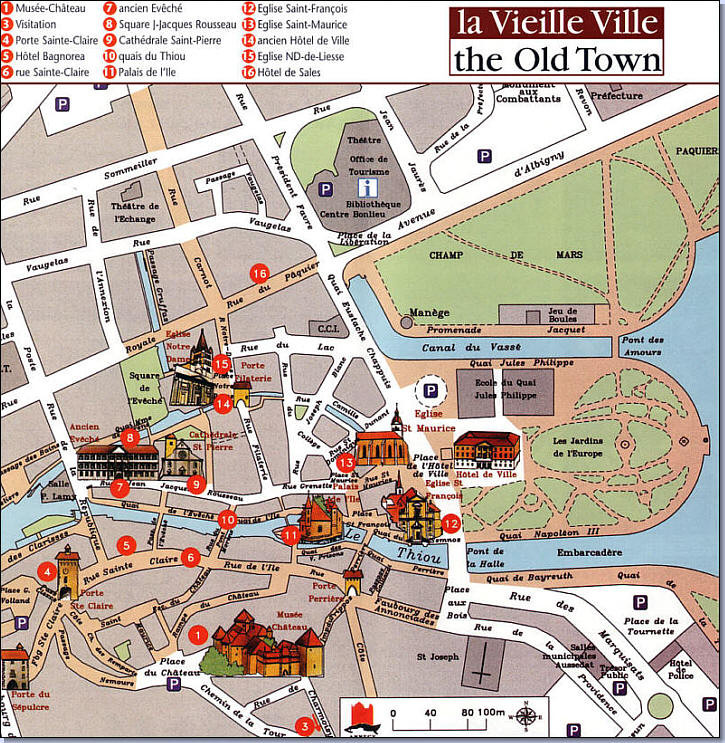 Map Old Town Annecy