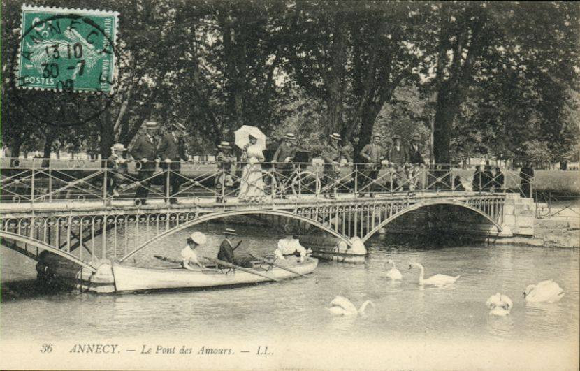 Post card of lover's bridge before