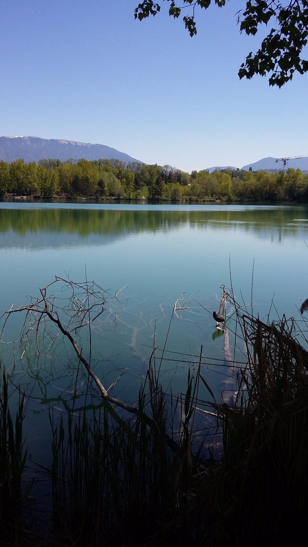 family walk rumilly's pond near Annecy