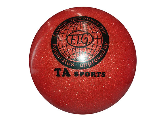 Мяч гимнастический D19 красный с блестками