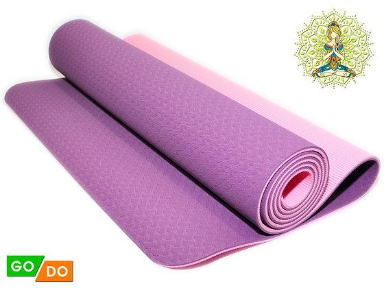 Коврик для йоги и фитнеса двухслойный