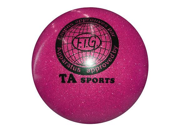Мяч гимнастический D19 фуксия с блестками