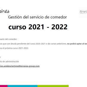 COMUNICADO. COMEDOR 2021/2022