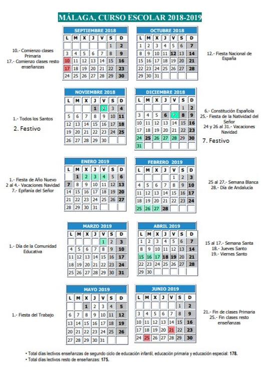 Calendario Laboral 2020 Palma De Mallorca.Calendario Escolar Torremolinos 2018 2019