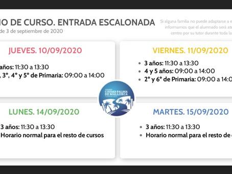 INICIO DE CURSO. ENTRADA ESCALONADA