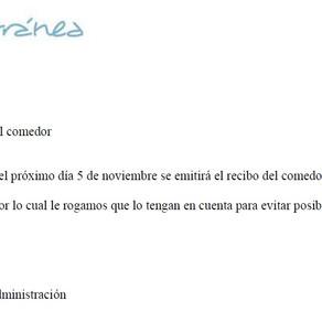 COMUNICADO COMEDOR (MEDITERRÁNEA)