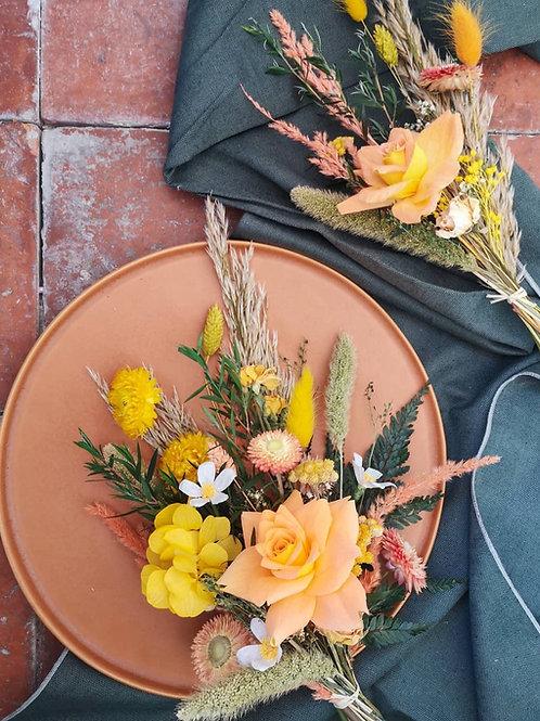 PÊCHE - Bouquet de fleurs séchées & rose en papier