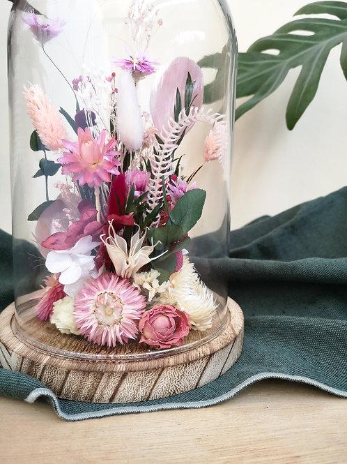 FLORA - Cloche rose et verte en fleurs séchées