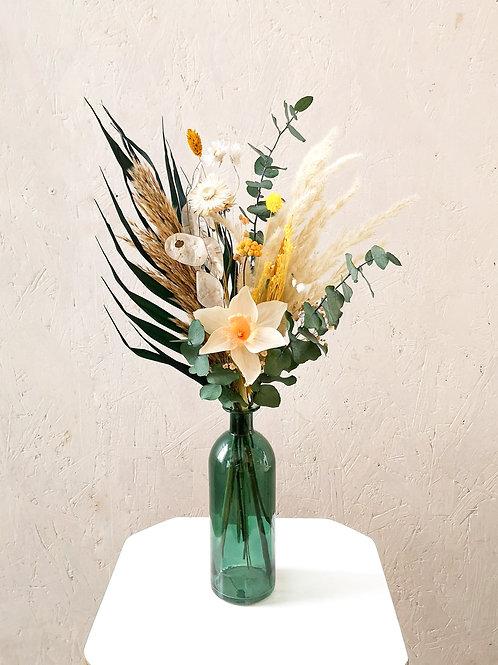 VIRIDI - Jonquille en papier et fleurs séchées (vase en option)