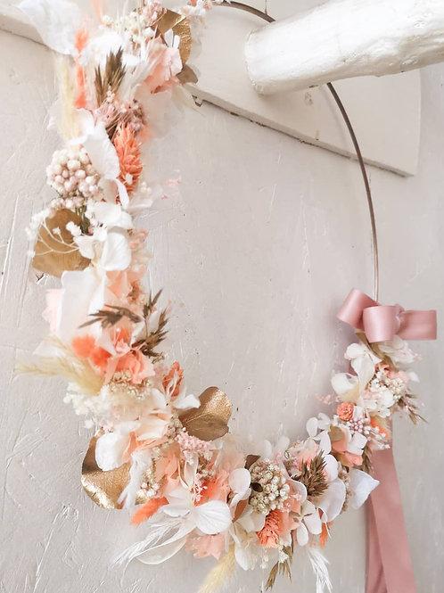 Couronne murale en fleurs séchées - Personnalisable
