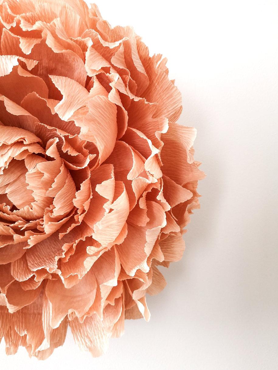 Paper flower géante de couleur rose pâle. Fleur en papier de 30cm de diamètre