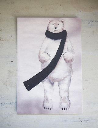 postcard「黒いマフラーをした白クマ」