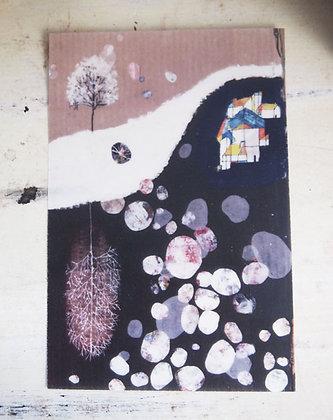 tracing postcard「雪の街」