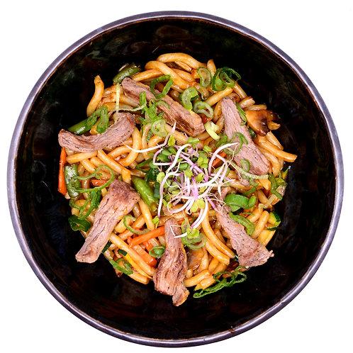 Stir Fry Udon Noodles with beef tenderloin