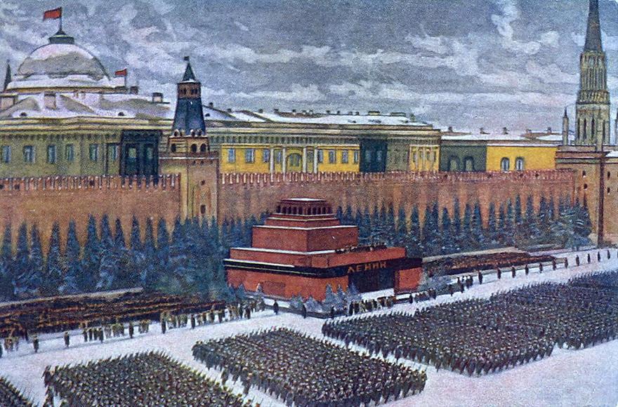 Константин Юон. «Парад на Красной площади 7 ноября 1941 года». 1942 г.    Военный парад начался 7 ноября 1941 года в 8 часов утра. Шествие возглавлял военачальник Павел Артемьев, принимал парад маршал Семен Михалович Будённый . Торжественное шествие длилось 61 минуту 20 секунд, всего в параде участвовало более 28,5 тысячи человек, 140 артиллерийских орудий, 160 танков. Некоторые подразделения прямо с парада отправлялись на фронт.