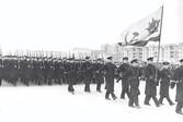 Сводный батальон моряков на параде 7 ноября 1941 года в Куйбышеве.  В параде приняли участие 602 человека из Краснознамённой Амурской флотилии и формировавшихся в области 84-й и 85-й морских стрелковых бригад.