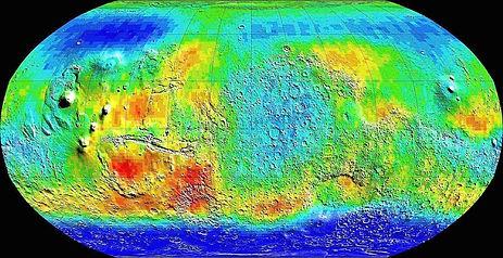 5. Карта распределения воды на Марсе (во