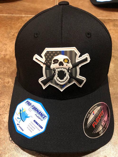 Subdued PVC skull/Guns Flex Fit Hat