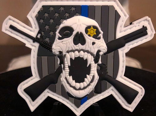 PVC/Rubber Thin blue line Skull Patch