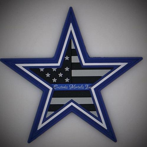 "3"" PVC Velcro Dallas Thin Blue Line Star"