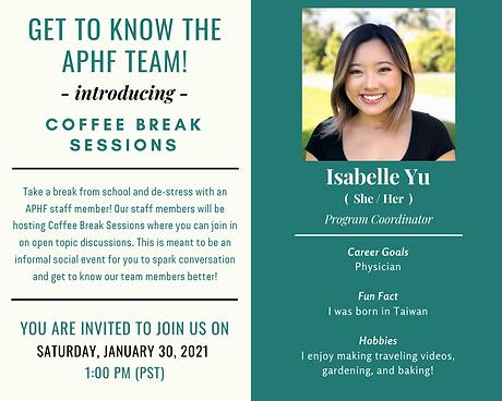 2021-01-30 Isabelle's Coffee Break Sessi