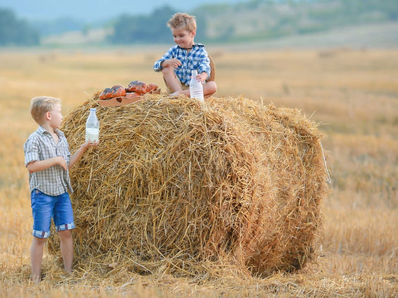 two-boys-stand-together-near-a-pile-of-h