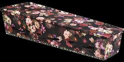 Gewatteerde kist, diepzwarte ondergrond met gekleurde bloemen KA-BO