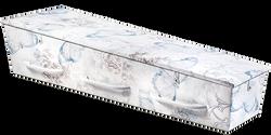 Gewatteerde kist, zachtblauw met een dessin van blauwe bloemen en vlinders, barok-elementen KA-SI