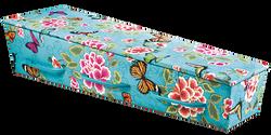 Gewateerde kist turquoise met vlinders/bloemen KA-CD