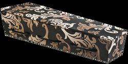 Gewatteerde kist, diepbruin met barok-ornamenten in bronstinten KA-OR