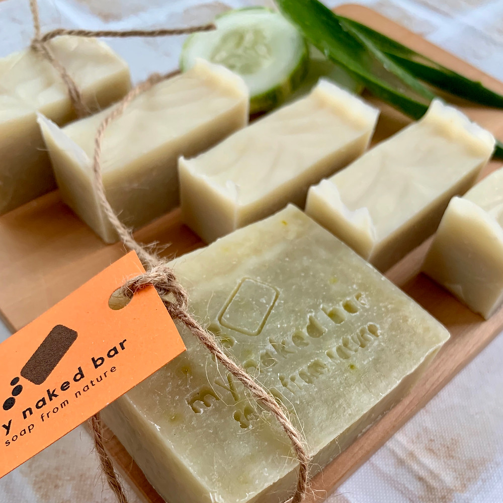 my naked bar cucumber aloe vera green clay soap with lavender tea tree essential oil