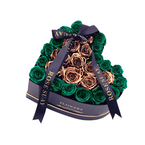 pure green-24k gold eternity roses -small black heart