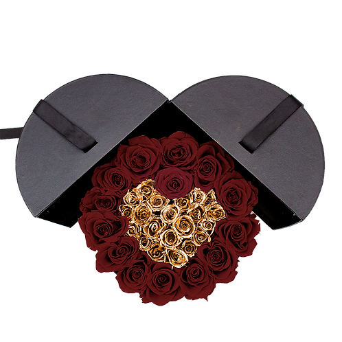 wine red & e24k gold eternity roses - small white round box