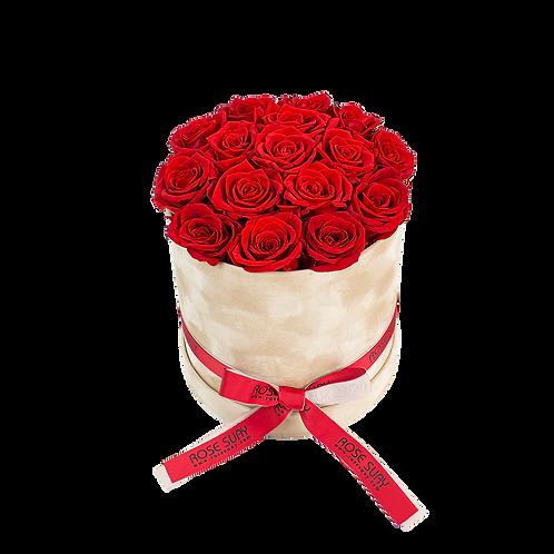 red eternity roses - medium beige brown round velvetbox