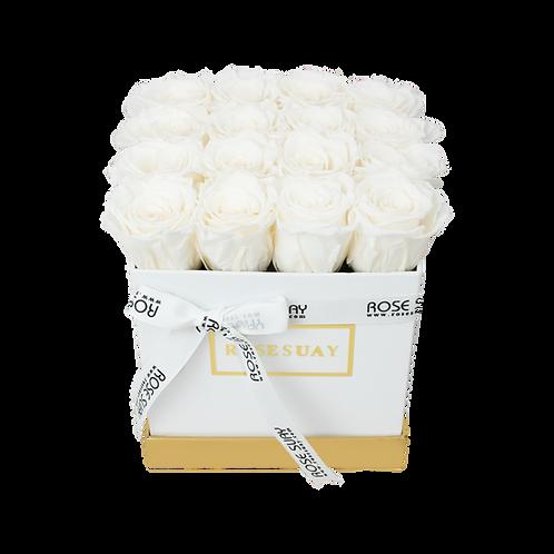 white eternity roses - mini white square box