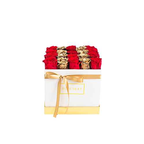 red -24k gold eternity roses - midi white square box