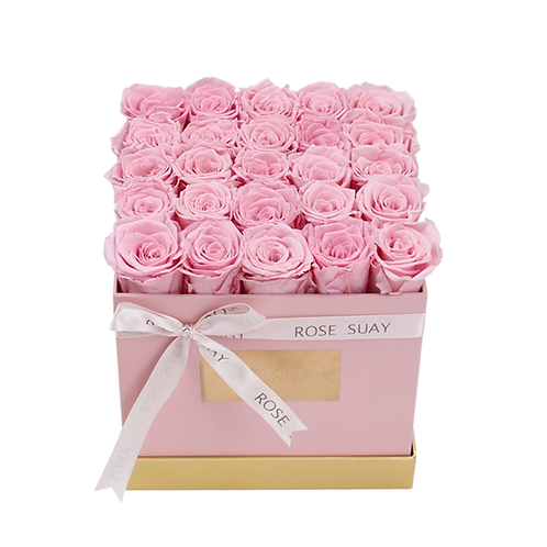 soft pink eternity roses - medium pink square box