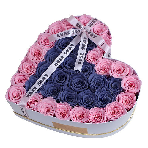 soft pink and gray eternity roses - huge white heart box