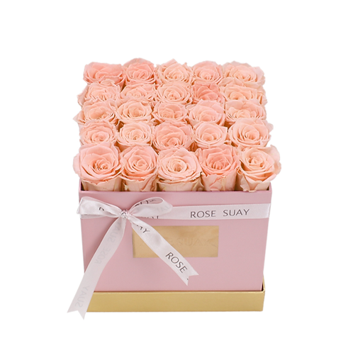 champagne eternity roses - medium white square box