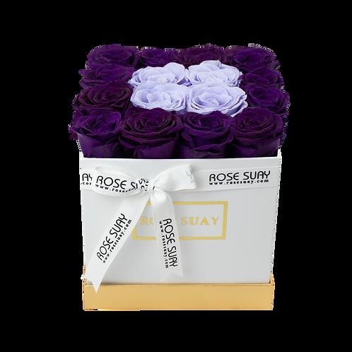 lilac & eggplant eternity roses - mini white square box